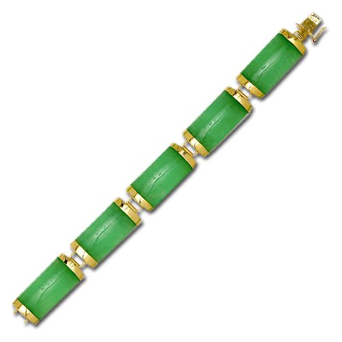 14KT Yellow Gold Good Fortune Green Jade Bar Bracelet (L)