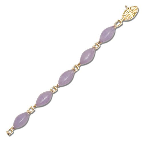 14KT Yellow Gold Marquise Shaped Purple Jade Bracelet