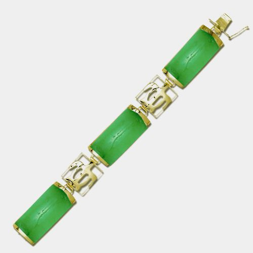 14KT Yellow Gold Hawaiian Honu Filigree with Green Jade Bar Bracelet