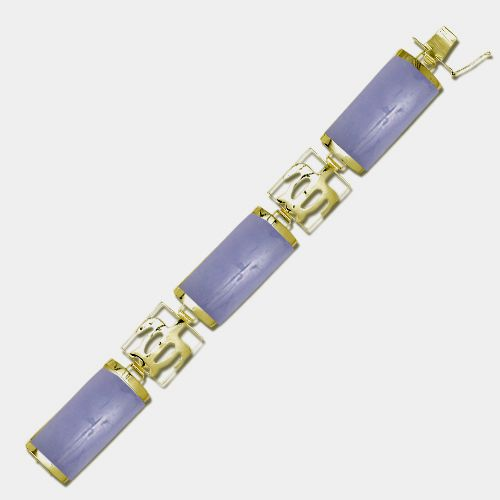 14KT Yellow Gold Hawaiian Honu Filigree with Purple Jade Bar Bracelet