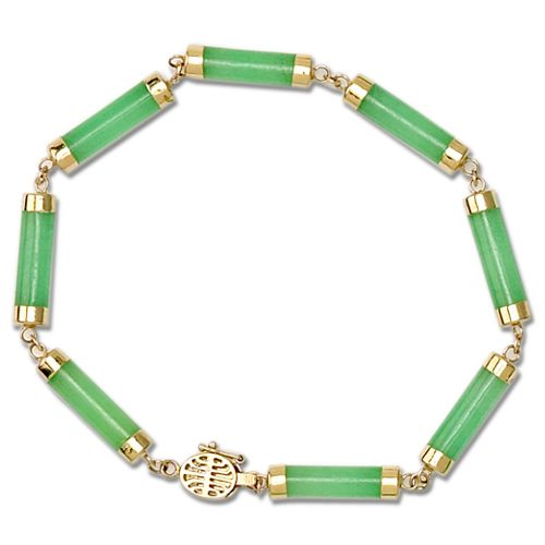 14KT Yellow Gold Green Jade Tube Bracelet (S)