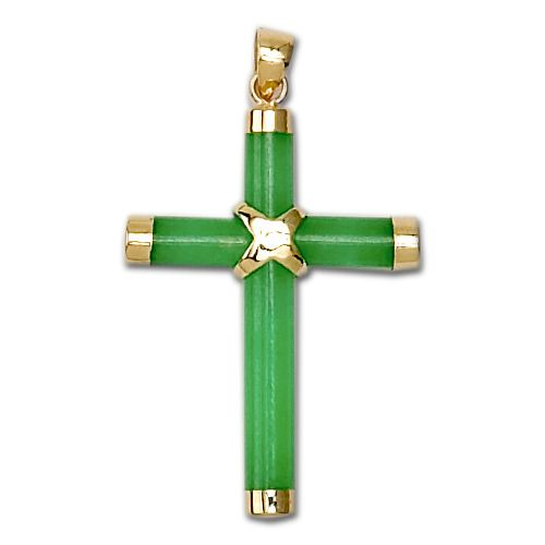14KT Yellow Gold Green Jade Cross Pendant