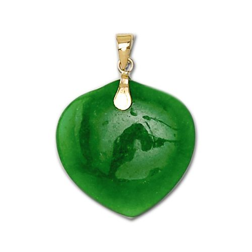 14KT Yellow Gold Peach Shaped Green Jade Pendant