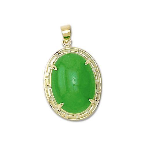 14KT Yellow Gold Chinese Oval Shaped Green Jade Pendant