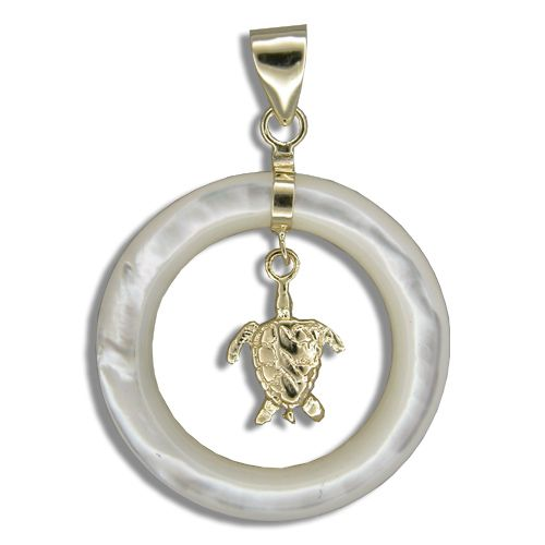 14KT Yellow Gold Dangling Hawaiian Honu in Round Shaped MOP (Mother of Pearl Shell) Pendant