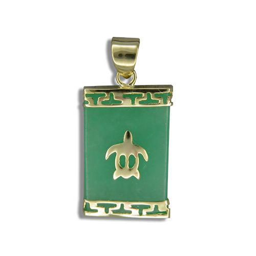 14KT Yellow Gold Hawaiian Honu on Rectangle Green Jade Pendant