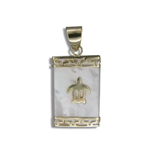 14KT Yellow Gold Hawaiian Honu on Rectangle MOP (Mother of Pearl Shell) Pendant