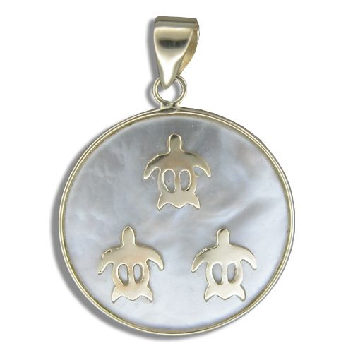 14KT Yellow Gold Hawaiian Honu on Round Shaped MOP (Mother of Pearl Shell) Pendant