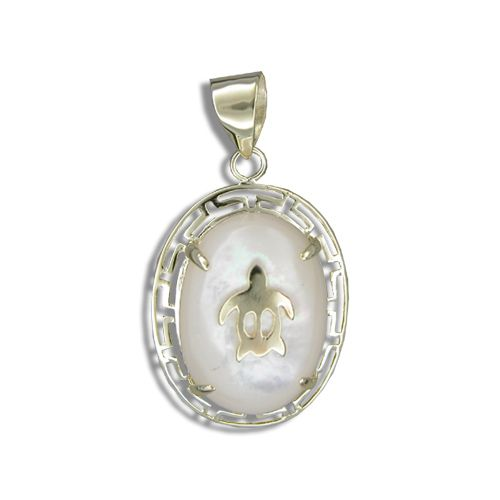 14KT Yellow Gold Hawaiian Honu on Oval Shaped MOP (Mother of Pearl Shell) Pendant