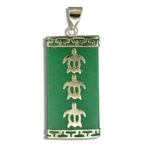 14KT Yellow Gold Hawaiian Honu with Rectangle Shaped Green Jade Pendant (L)