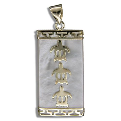 14KT Yellow Gold Hawaiian Honu with Rectangle Shaped MOP (Mother of Pearl Shell) Pendant (L)