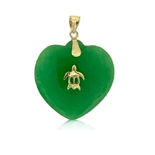 14KT Yellow Gold Hawaiian Honu with Peach Shaped Green Jade Pendant