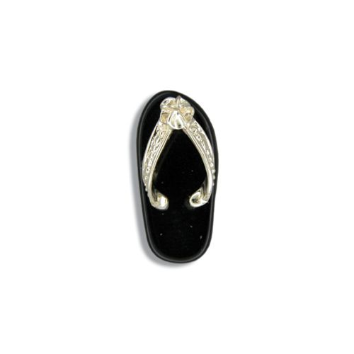 14KT Yellow Gold Black Jade Slipper Pendant