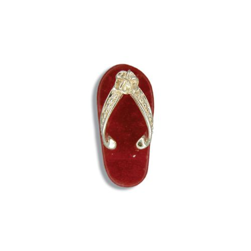 14KT Yellow Gold Red Jade Slipper Pendant