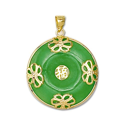 14KT Yellow Gold Chinese Good Fortune Green Jade Dish Pendant
