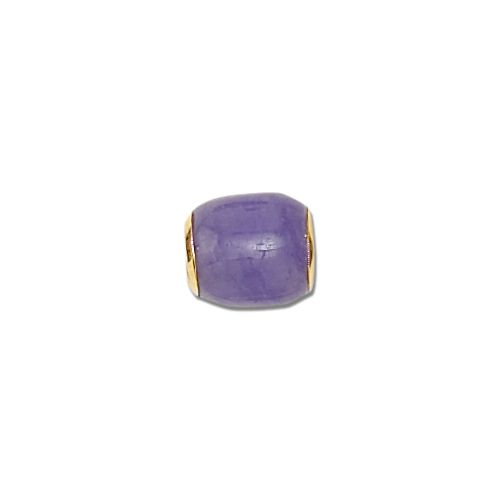 14KT Yellow Gold Purple Jade Lucky Barrel Pendant