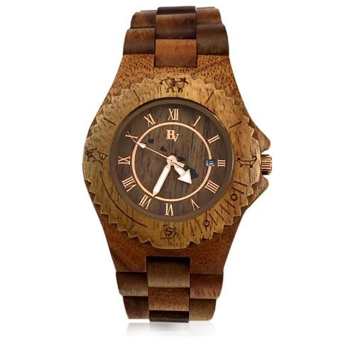 Handmade 45mm Koa Wood Men's Watch with Islands Face