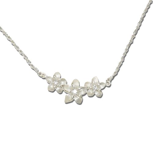 Sterling Silver White Sand Plumeria Necklace