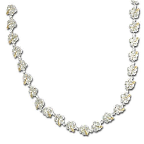 Sterling Silver 2 Tone 9mm Hibiscus Lei Link Necklace