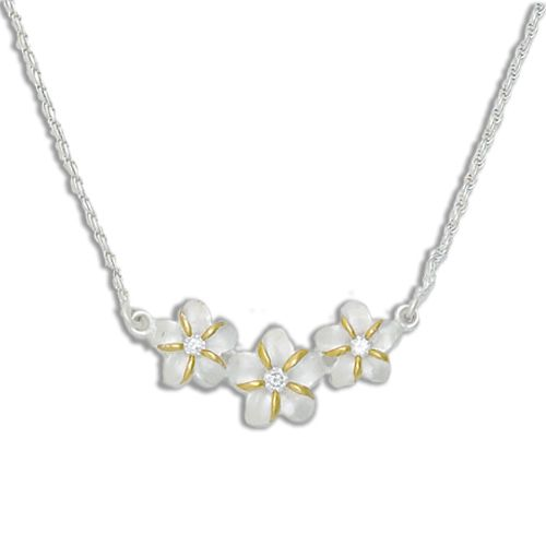 Sterling Silver 2 Toned Plumeria Necklace