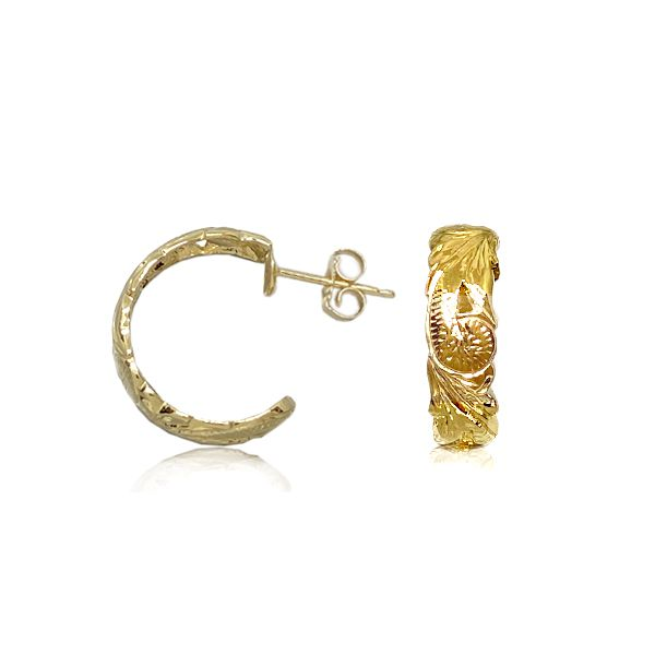 14kt Yellow Gold 6mm Cut-out Edges Hawaiian Plumeria Scroll Hoop Earrings.