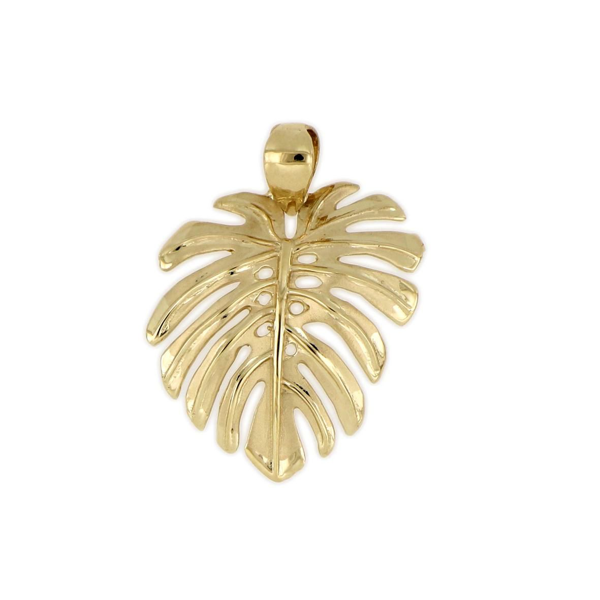 14KT Yellow Gold Hawaiian Monstera Leaf Pendant (L)
