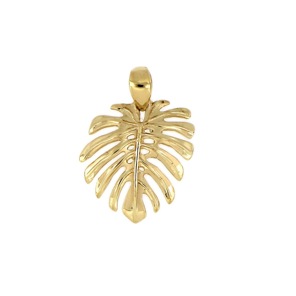 14KT Yellow Gold Hawaiian Monstera Leaf Pendant (M)