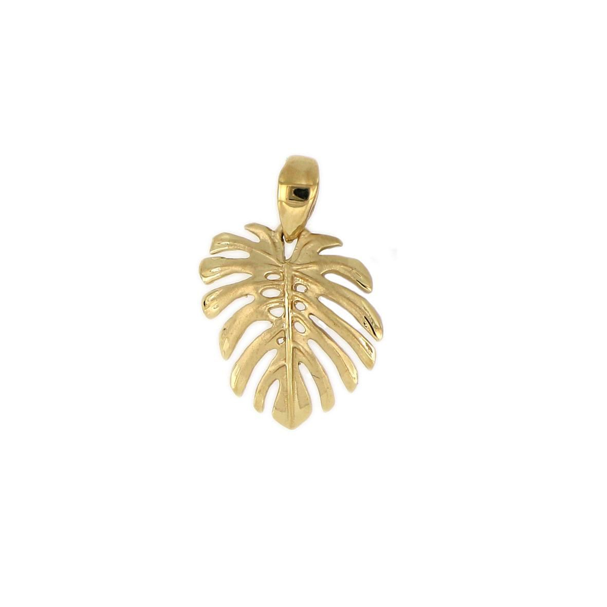 14KT Yellow Gold Hawaiian Monstera Leaf Pendant (S)