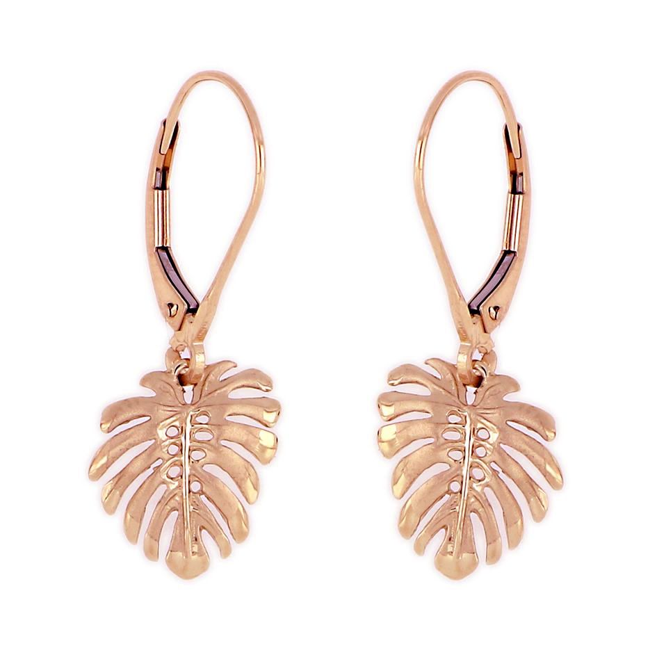 14KT Rose Gold Hawaiian Monstera Leaf Earrings with Lever Back (M)