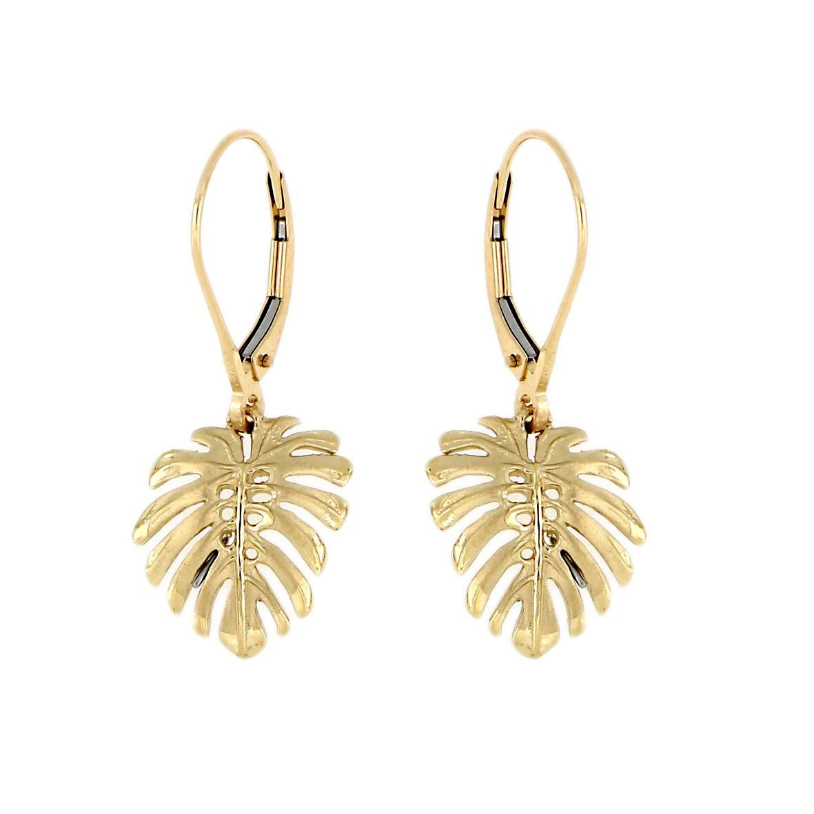 14KT Yellow Gold Hawaiian Monstera Leaf Earrings with Lever Back (M)