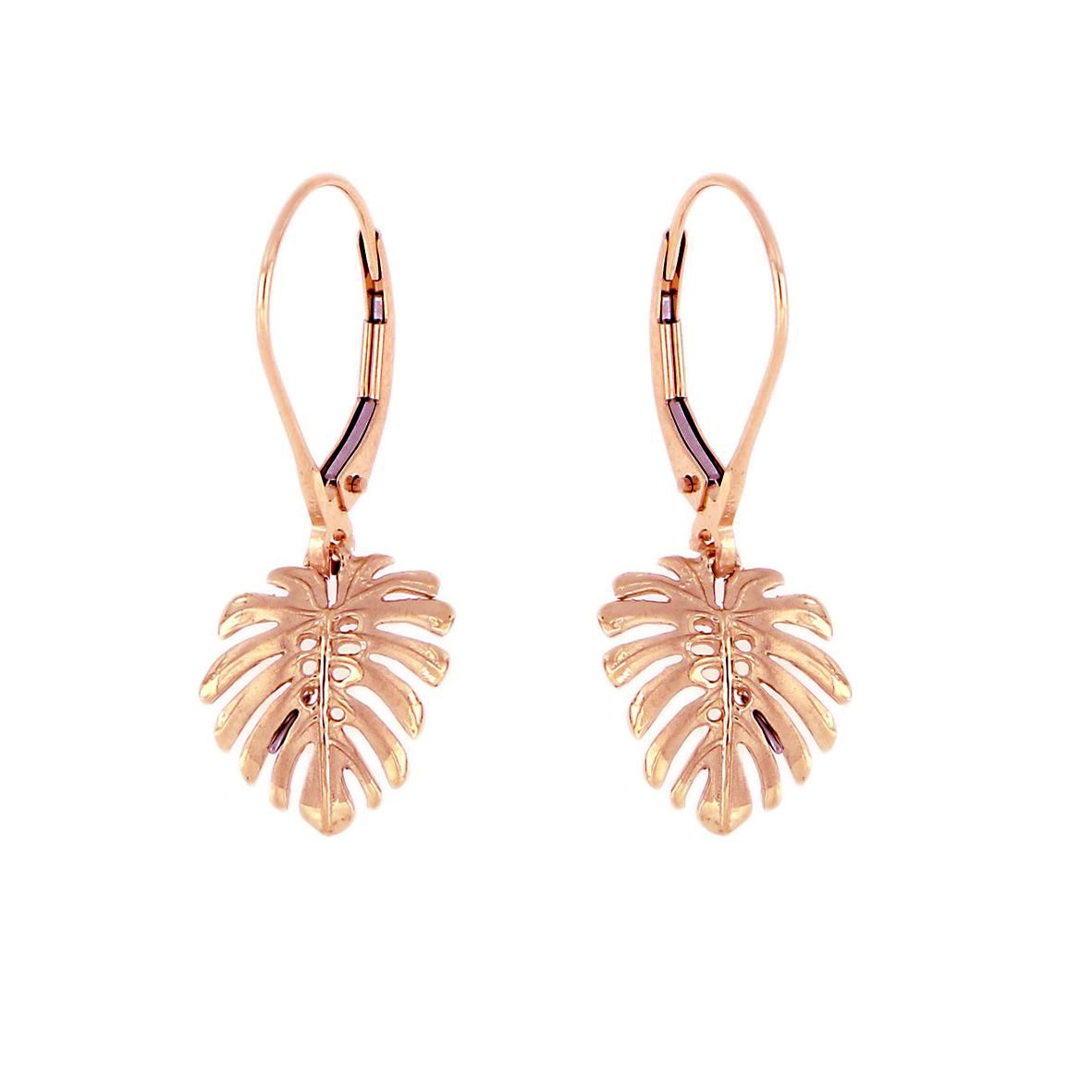 14KT Rose Gold Hawaiian Monstera Leaf Earrings with Lever Back (S)