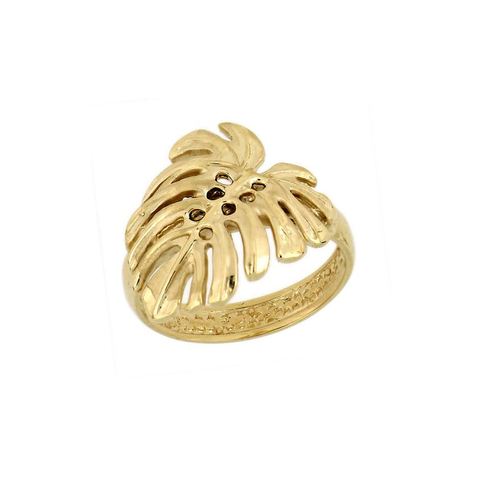 14KT Yellow Gold Hawaiian Monstera Leaf Ring