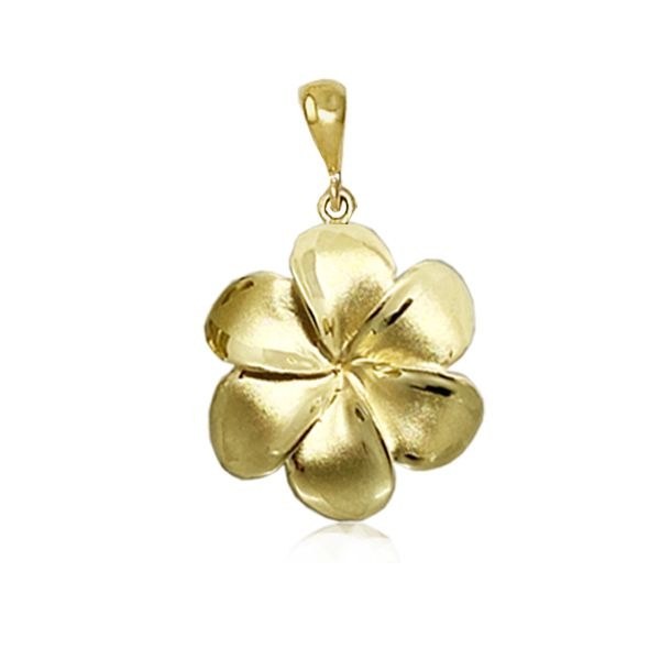 14KT Gold 24MM Lucky Hawaiian Six Petals Plumeria Pendant