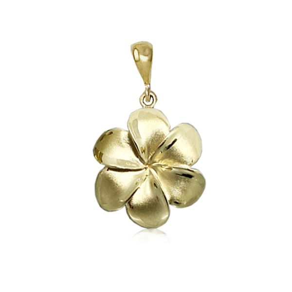 14KT Gold 20MM Lucky Hawaiian Six Petals Plumeria Pendant