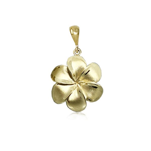 14KT Gold 17MM Lucky Hawaiian Six Petals Plumeria Pendant