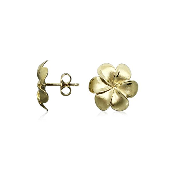 14KT Gold 14MM Lucky Hawaiian Six Petals Plumeria Posted Earrings