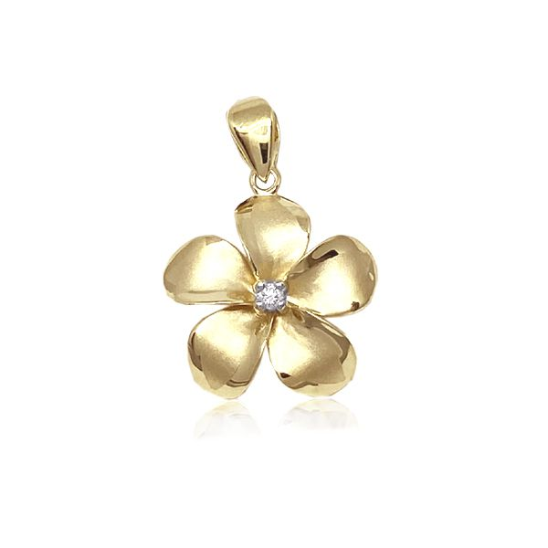 14KT Gold Classic 19mm Plumeria Pendant with Diamond