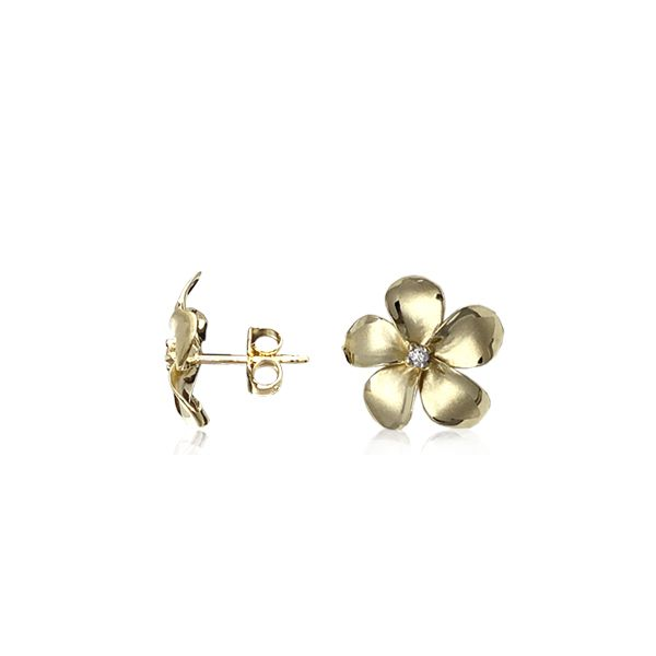 14KT Gold Classic 11mm Plumeria Pierced Earrings with Diamonds