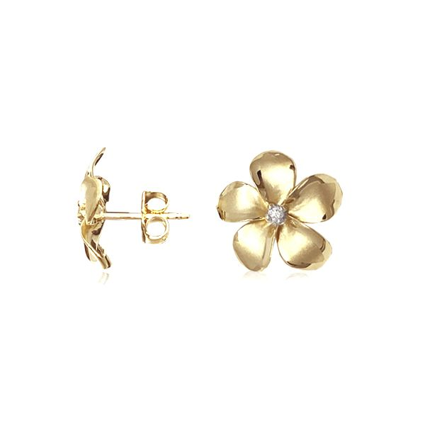 14KT Gold Classic 14mm Plumeria Pierced Earrings with Diamonds