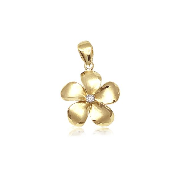 14KT Gold Classic 14mm Plumeria Pendant with Diamond