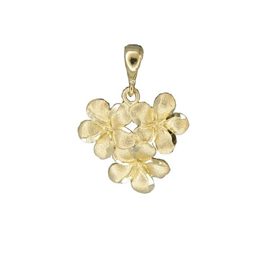 14kt Yellow Gold Hawaiian 10MM Plumeria Blossom Pendant