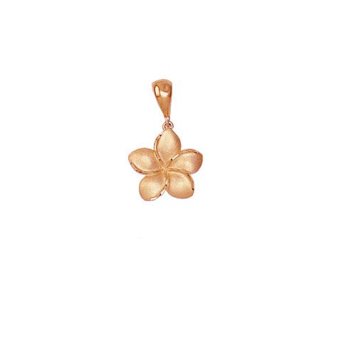 14kt Rose Gold Hawaiian Plumeria 10mm Pendant