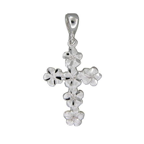 14kt White Gold 7mm Plumeria Leis Cross Pendant