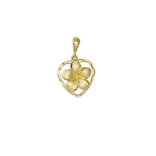 14Kt Gold Hawaiian 12mm Plumeria Heart Pendant