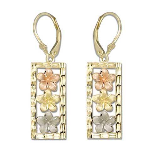 14kt Tri-color Gold Plumeria Vertical Lever Earrings