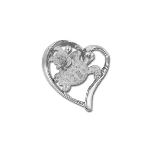 14kt White Gold Hawaiian Mother and Baby Sea Turtle Slide Pendant