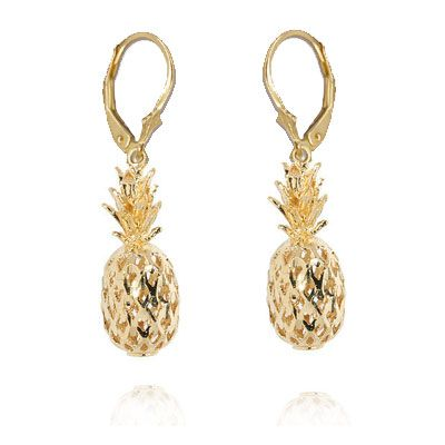 14kt Gold Hawaiian Pineapple Earrings (S)