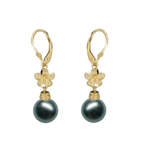 14KT Yellow Gold Hawaiian 8mm Plumeria Tahitian Black Pearl Earrings