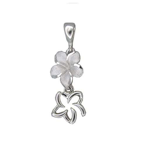 14kt White Gold Double Fancy Plumeria Pendant
