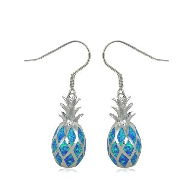Sterling Silver 3D Hawaiian Pineapple Shaped Blue Opal Fish Wire Earrings